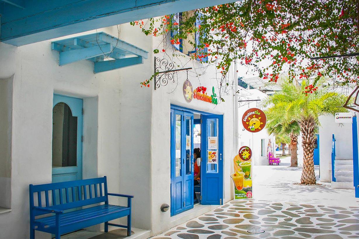 Một quán ăn nhỏ ở Santorini Thái Lan