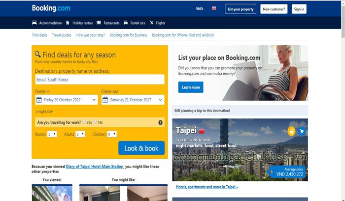 Booking khách sạn để xin visa Hàn Quốc