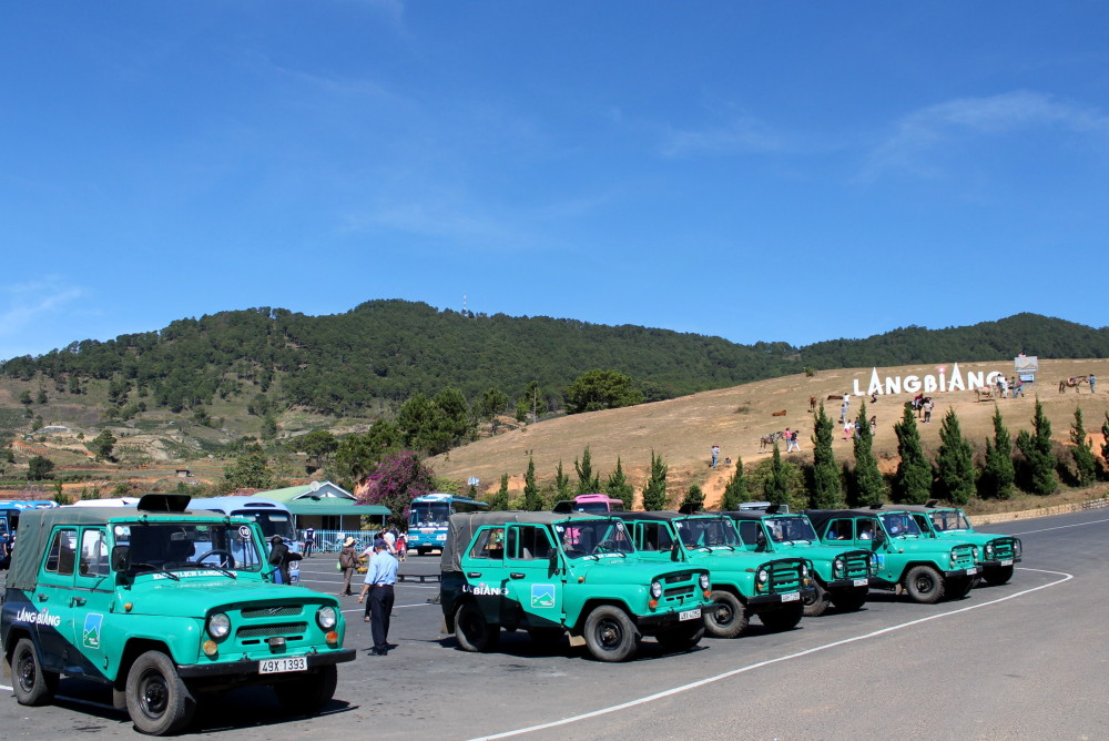 Những chiếc xe jeep đưa du khách lên đỉnh Langbiang